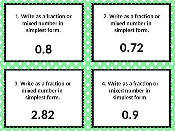 Fraction to Decimal & Decimal to Fraction Task Cards