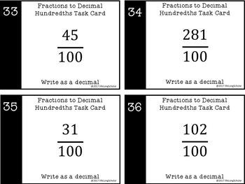 Hundredths - Relate Fraction to Decimal - Task Cards (CCSS, TEKS, blank)