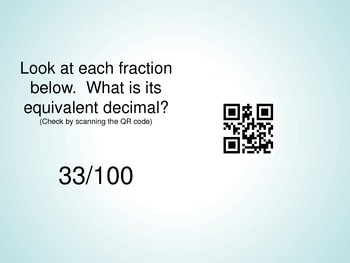 Fraction to Decimal QR Code Math Problems