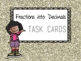 Fraction to Decimal Task Cards