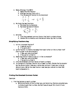 Fraction to Decimal to Percent Notes