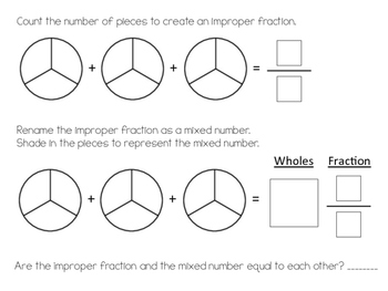 Fraction-to-Mixed Number Math Center Activity