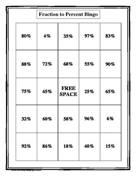 Fraction to Percent Bingo (30 pre-made cards!)