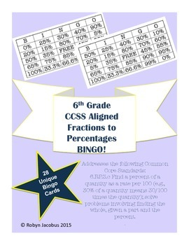 6th Grade CCSS Aligned Math- Converting Fractions to Percentages Bingo