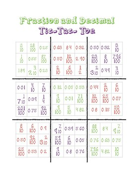 Fraction to decimal tic-tac-toe