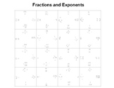 Fractions with Exponents Fun Square Puzzles
