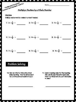 Fraction x Whole Number Worksheet