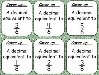 Fraction/Decimal Equivalents- Four in a Row Game