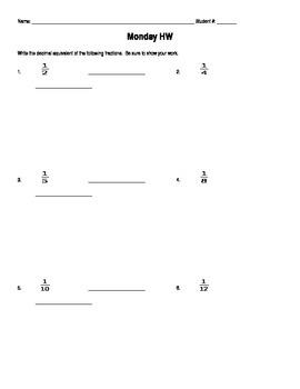 Fraction/Decimal Equivalents Homework