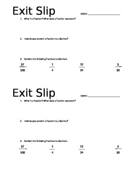 Fraction/Decimal Exit Slip