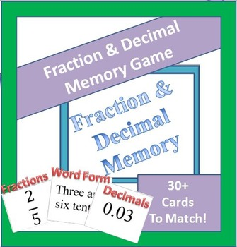 4th & 5th Grade Fraction/Decimal Matching Game