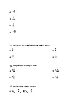 Fraction/Decimal/Percent/Probability Test 7th grade