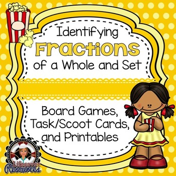 Fractions Game & Printable Worksheets- Identifying fractions of a whole and set