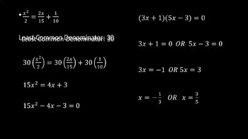 Fractional Equations - PowerPoint Lesson (4.7)