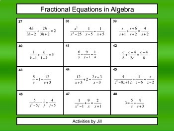 Fractional Equations in Algebra Task Cards