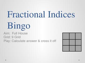 Fractional Exponents (Indices) Bingo Game