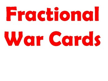 Fractional Parts Comparing Card Game