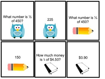 Fractional Parts of Numbers Memory Game