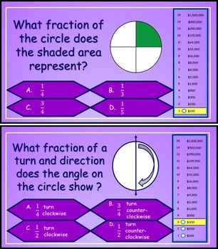 Fractional Parts of a Circle / Angles in a Circle Millionaire Game 4th-5th Grade