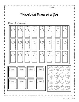 fractional parts of a set worksheets school theme by loida howard. Black Bedroom Furniture Sets. Home Design Ideas