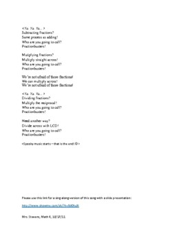 """""""Fractionbusters"""" Math Song Sing Along about Fraction Operations (GLAD strategy)"""