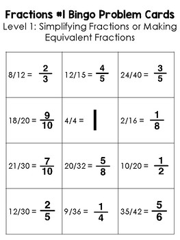 Fractions #1 BINGO Math Game for Intermediate Students - 3 Versions to Play!