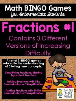 Fractions #1 BINGO Math Game for Intermediate Students - 3