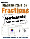 Ways To Represent Fractions Review Worksheets With Answer Keys