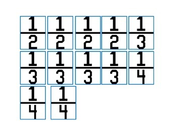 Fractions 1/2, 1/3, 1/4: File Folder