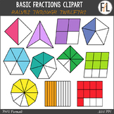 Basic Fractions Clipart - Set 1 (Halves through Twelfths)