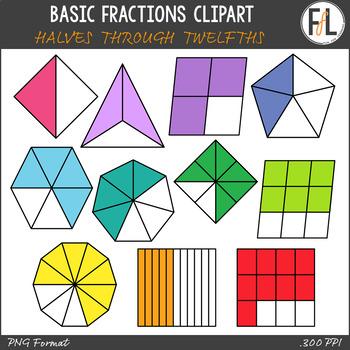 Basic Fractions Clipart - Set 1 (Halves through Twelfths)