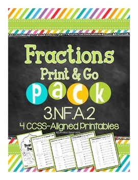 Fractions on a Number Line - 3rd Grade Print & Go Pack for