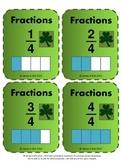 St Patrick's Day Fractions Flash Cards - Grade 3, Grade 4, Grade 5 & Grade 6
