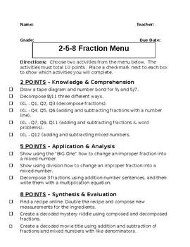 Fractions 2-5-8 List Menu