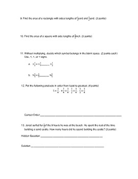Fractions #2 Test