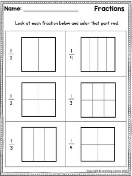 Fractions Worksheets for First Grade by Learning Juniors | TpT