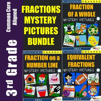 3rd Grade Fraction Mystery Pictures Bundle
