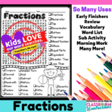 Fractions Activity: Fractions Vocabulary: Fractions Word Search