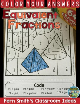 Color By Numbers Equivalent Fractions