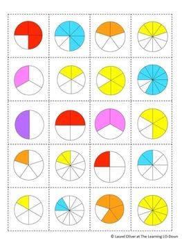Fractions: 3 Fraction Memory Game