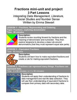 Fractions 3 lessons with integrated project (data management)