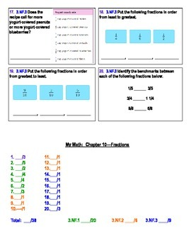 Fractions 3rd Grade  Common Core Assessment