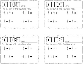 Common Core Exit Tickets: Fractions {5.NF.1}