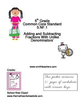 Fractions 5.NF.1 5th Grade