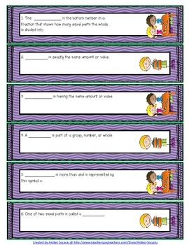 Fractions Academic Vocabulary Fiddle Strips!