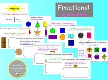 Fractions: Activities and Word Problems for Halves, Thirds