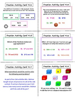 Fractions Activity Task Cards And Lesson Plan (36 CARDS)