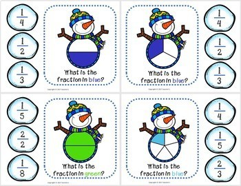 Fractions Activity Package Snowman Theme