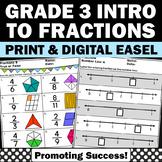 Fractions on a Number Line & Visual Models Worksheets 3rd