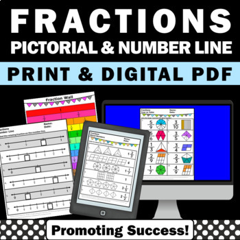No Prep Fraction Worksheets 3rd Grade Fractions On A Number Line